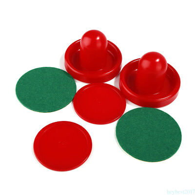 1Set Air Hockey Table 2 red 60mm Goalies Mallet Felt Pusher 2 red 64mm Puck he7