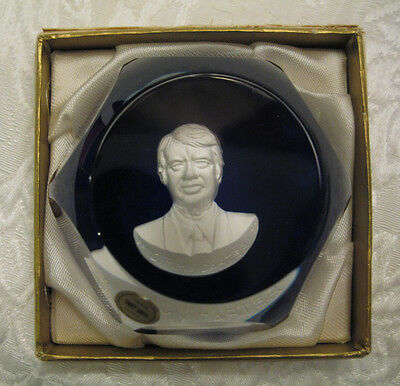 Vintage 1976 SAINT LOUIS Sulphide Cameo PRESIDENT JIMMY CARTER Paperweight