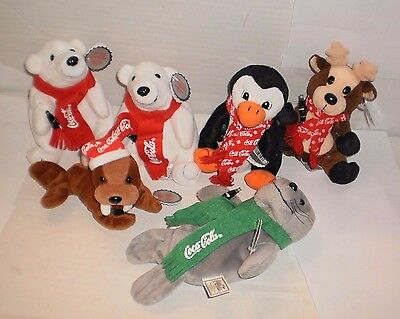 LOt of 6 Collectible Coca-Cola Brand Bean Bag Plush