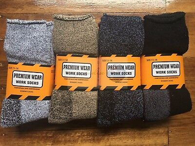 6 Pairs size 11-14 Heavy Duty Boot Outdoor Extra Thick Cotton Working Socks