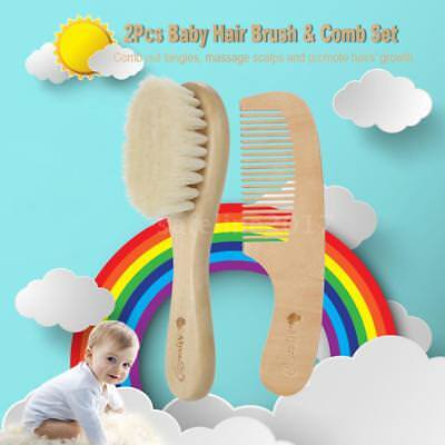 Infant Natural Wood Hair Brush Comb Set Soft Goat Wool Hair Scalp Massage L4V6