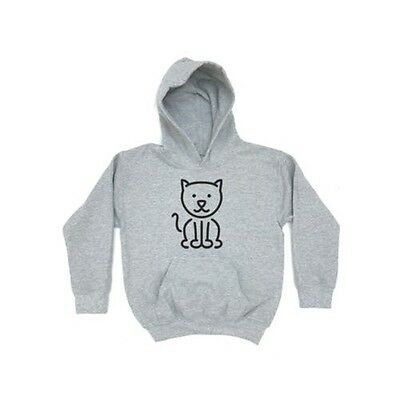 Cat Outline KIDS HOODIE Girls Boys Childrens Animal Clothing Gift Cute Present