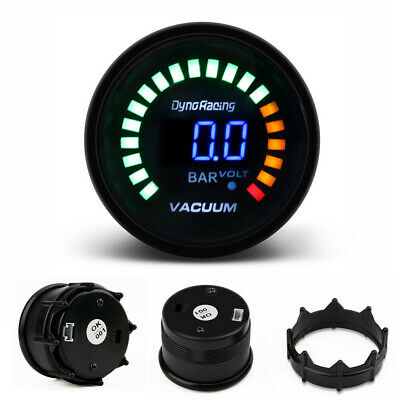 Universal 2'' 52mm Blue Digital LED Electronic Car Vacuum Gauge Bar Meter Tinted