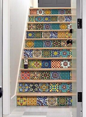 Mexican Stair Riser Decal:Removable Vinyl Stickers = 10 Strips with 124cm Length