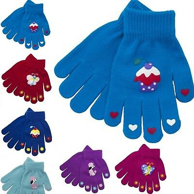 Childrens Kids winter gloves boys girls plain and magic gripper wool warm glove