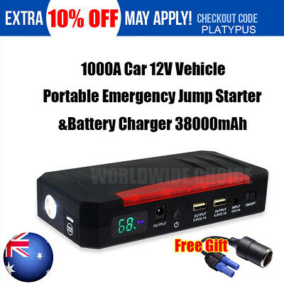 1000A Emergency Jump Starter &Battery Charger Car 12V Vehicle Portable 38000mAh