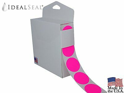 Coding Labels - Neon Pink Color 1-1/2 Inch Round 1000 Stickers - Dispenser Box