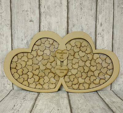 Double Heart Original, Personalised Wedding Drop Box, Guest Book, Mdf