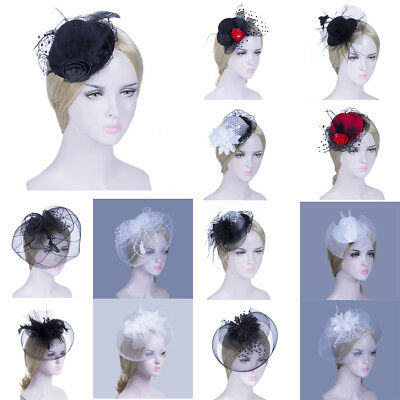 Women Chic Flower Feather Mesh Fascinator Hat Hair Hoop Hair Clip Decor Party