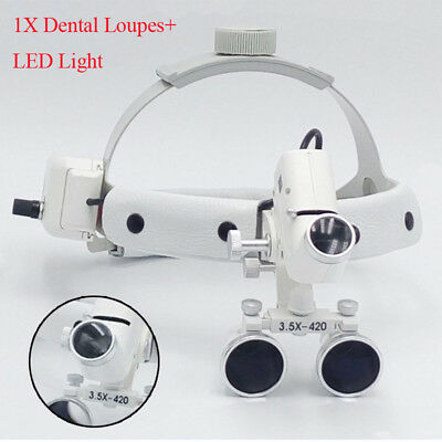 Dental Binocular Loupes Glasses Head Band Magnifier 3.5X420mm LED Light Easy Use
