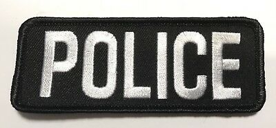 Police Bag Patch, Law Enforcement, White on Black, Hook Rear, 10.5 x 4cm