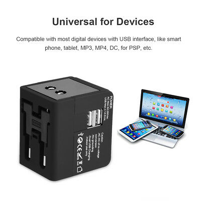 Universal Travel Adapter Power AC Wall Charger Fast Charging with Dual USB Ports