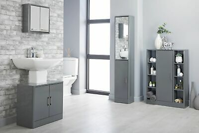Sleek Grey White Gloss Bathroom Storage Unit Cupboard Cabinet Mirror Under Sink