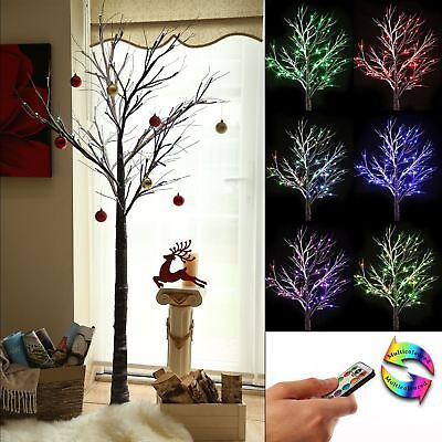 7ft Brown Colour Changing Christmas Twig Tree Pre Lit LED Lights Indoor Outdoor