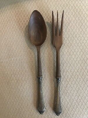 Antique Sterling Silver & Wood Salad Server Fork Spoon Flatware