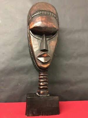 African Tribal Carved Figure Mask On Stand Ethnographic Antique Vintage