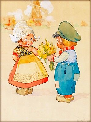 Little Dutch Boy & Girl Holland Netherlands Vintage Travel Art Poster Print