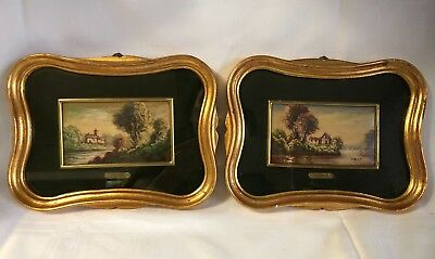 Pair Of Matching Vintage Miniature European Landscapes Paintings By Silvestri