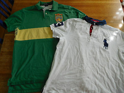 Lot of 2 Polo Ralph Lauren Shirt Country Club + Big Pony L Large Green White