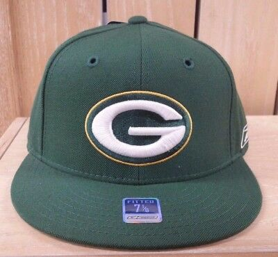 f33cefd9dce Reebok Green Bay Packers Fitted Hat Cap Nfl Green White Men Sz 7- 8 A2