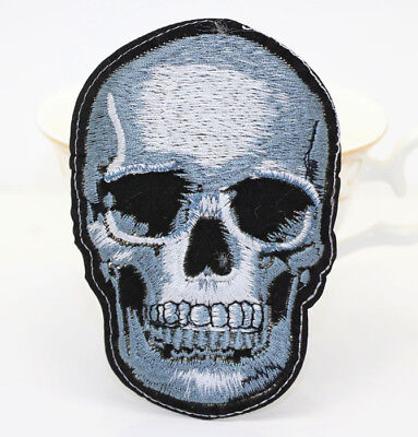 Punk skull Embroidered bikeingSew IronOn Patch Badge Fabric Bag clothes Applique