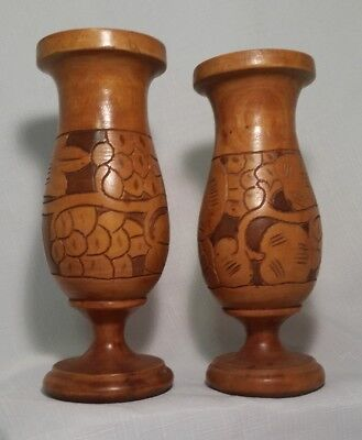 Handturned Carved Wood Vase's set of 2 pieces