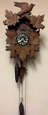 """German 2 Weights Driven Movement Carved Wood Case Cuckoo Clock GWO 13"""" L 9""""W"""