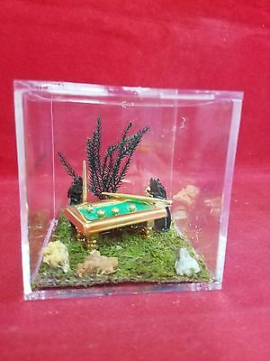 *Taxidermy/Entomology Anthropomorphic 2 black beetles Playing pool-insect-bug