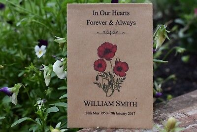 25 Funeral Favours  Seed Packets Memorial/Remembrance (Unfilled)