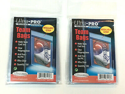 200 Ultra Pro TEAM SET BAGS Resealable Strip Trading Card Baseball UV 2 Packs