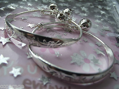 2 New Girls Silver Bracelets Bangles Adjustable Size 3,4,5,6,7 Years( Gift Box
