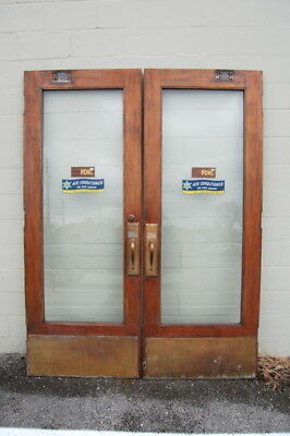 "Original Antique Walnut Double Entry Bank Doors, 34"" x 90"" Architectural Salvage"