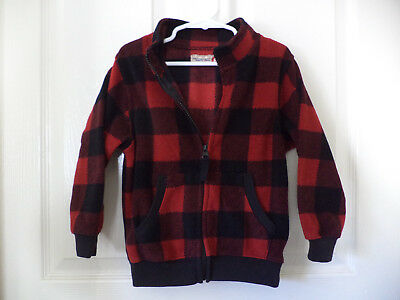 Q Original Style Boy's 3T Red Black Plaid Zip Up Sweater