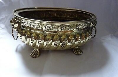 Antique 19th Century Large Oval Brass Jardiniere Planter Lion Head & Paw Feet