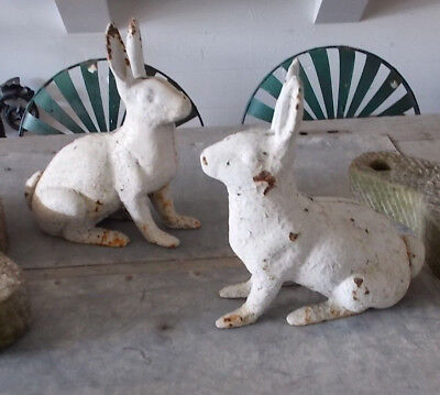 PAIR Large Antique Victorian Cast Iron Rabbits Lawn Ornaments Garden Statues TWO