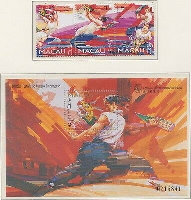 MACAU 1997 Drunken Dragon festival MINT set & MS sheet sg988-991 MNH