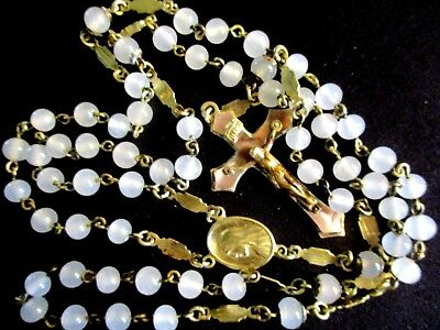 VINTAGE ANTIQUE BRASS & GLASS ROSARY MARY JESUS RELIGIOUS MEDAL  LOT 7  c1940