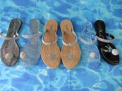 "New Women ""MILAN"" Jelly Sandals Flip Flop Flats Shoe Rhinestone by Ann More"