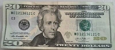 *Fancy Serial Number $20 bill*, three digit Bookend Note currency 12136121