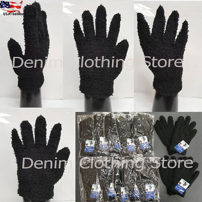 3, 6, 12 PairS Men Women Solid Black Magic Fuzzy Cozy Winter Warm Knit Gloves