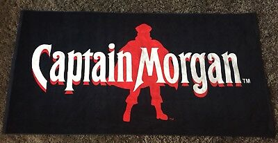Captain Morgan Rum Official Crew Beach Towel 3E Trading Black & Red NWOT 70x35""
