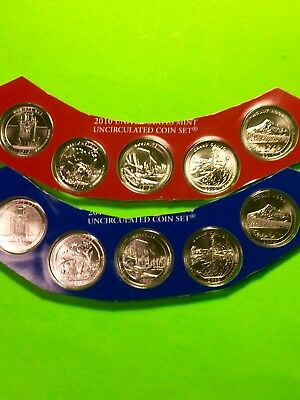 2010 America The Beautiful P & D Uncirculated Set Sealed Mint Cello 10 Coin Lot