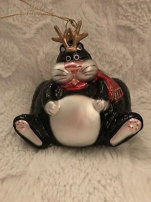 All That Glitter Collectable Fat Cat Glass Ornament