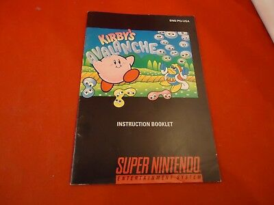 Kirby's Avalanche Super Nintendo SNES Instruction Manual Booklet ONLY