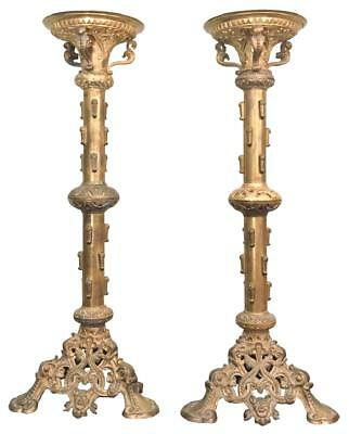 Monumental Pair Of French Brass Cathedral Sticks, 19th century ( 1800s )