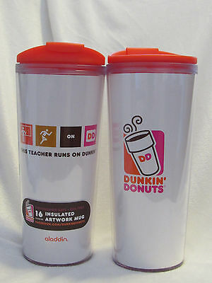 Dunkin Donuts Insulated Tumbler, This Teacher Runs on Dunkin,16 Oz, 2 Cups for $