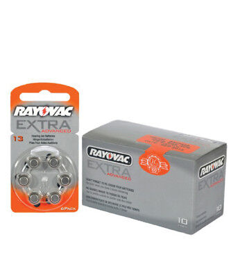 Box of Rayovac Extra Hearing Aid Batteries size 13 (60 cells)
