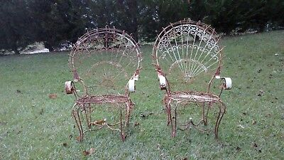 RARE Vintage White Wrought Iron Hanging Peacock Fan Style Chair Swing