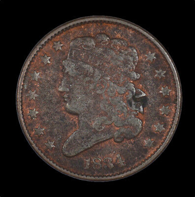 1834 Classic Head Early Copper Half Cent 1/2C Circulated / Bent