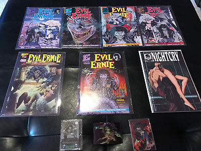 Eternity Evil Ernie (1991 1st Series) 1 to 5 - #1 Signed plus 3 Evil Ernie Cards